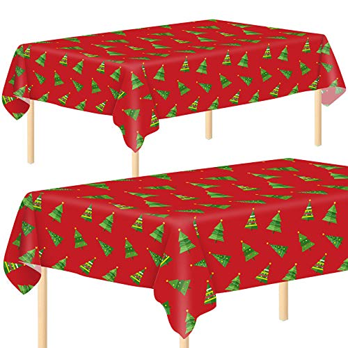 Aneco 2 Pack Plastic Christmas Tree Party Tablecloth Table Cover Disposable Christmas Tree Tablecloth Table Cover 54 x 108 Inches for Christmas Party Decoration Supplies