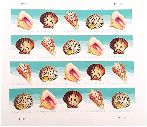 USPS Seashells Postcard Stamps (1 Sheet of 20 Stamps)