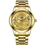 ML S HJDY Relojes De Cuarzo para Hombres Esfera De Dragón Dorado Luminoso Impermeable Reloj Analógico Automático De Moda Reloj Casual De Negocios para Hombre,Oro