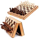 GAXQFEI Schach Set Schach, Magnetische Schachbrett-Set, Faltbar/Tragbarer Brett Mit Lagerung,...