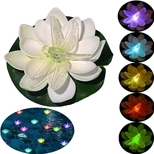 LOGUIDE Floating Pool Lights,Battery Powered Floating Flowers,Pond Decor,Floating Pool Flower Lights Color-Changing -for Wedding Outdoor Party Decor 6 Pcs (Dragonfly)