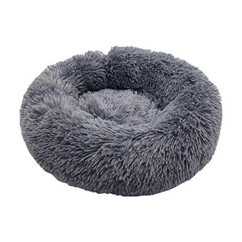 KEBY Donut-Katzenbett, modern, weiches Plüsch, rund, Haustierbett für Katzen oder kleine Hunde, Hundehütte, rundes Kissen