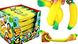 JA-RU Stretchy Banana Squishy Toys (12 Units) Anxiety Stress Relief Toys | Sensory Toys for Autistic Children Kids and Fidget Stress Toys for Adults. Great Party Favor Supply. Plus 1 Ball. 3340-12p