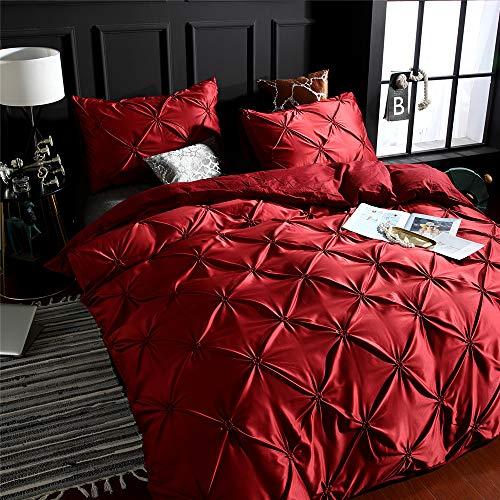 WAZA Juego de 3 Piezas Funda Nórdica para Cama Dormitorio Suave Simple Moda Juego de Fundas de Edredón Funda Nórdica y 2 Fundas de Almohada (Rojo, Queen)
