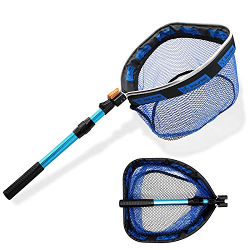 SAN LIKE Floating Fishing Net - Collapsible Telescopic Pole Freshwater Saltwater Landing Net Trout Bass Steelhead Salmon Kayak Folding Rubber Coated Net Extend to 41inches
