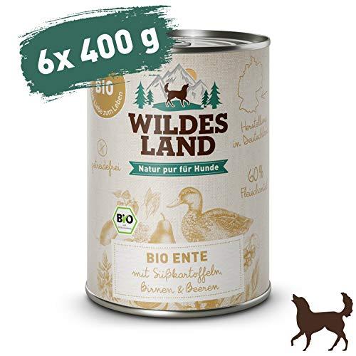 Wildes Land   Nassfutter für Hunde   Bio Ente   6 x 400 g   Getreidefrei & Hypoallergen   Extra hoher Fleischanteil von 60%   100% zertifizierte Bio-Zutaten   Beste Akzeptanz und Verträglichkeit