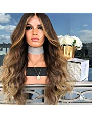 Anself 22'' Natural Soft Long Wavy Ombre Blonde Wig Hair Extensions Synthetic Fiber Hair Wigs High Temperature Heat Resistantfor Party Cosplay