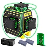 Firecore 3 X 360 Green Laser Level, Self-leveling Three-Plane Leveling and Alignment Line Laser Tool with Pulse Mode, 2 Rechargeable Lithium Batteries, Magnetic Pivoting Base, Target Plate(F94T-XG)