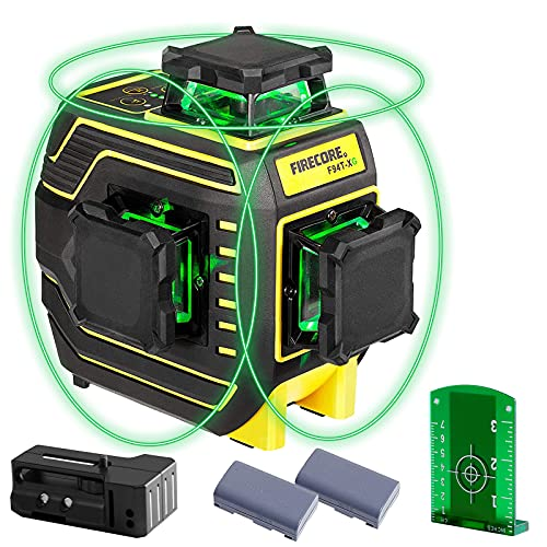 Firecore 94T-XG 3D nivel laser Autonivelante ,3X360 ° Nivel laser verde ,25m nivelador láser y Hasta 50m en Modo de Pulso exterior, con 2 batería de litio recargable,Base Magnética, placa objetivo