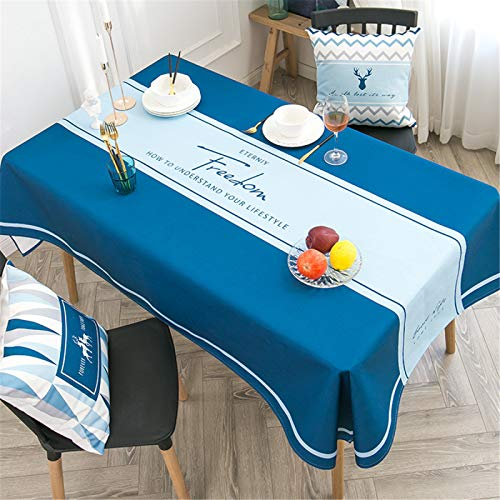 CCBAO Mantel De Hogar Rectangular Impermeable A Cuadros Azul, Mantel De Lino Y Algodón A Rayas 100x140cm