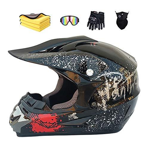 Motorradhelm,Motocross Helm,Helm Kinder,Helmets Kinder-Cross-Helm, Road Helm mit Handschuhe Maske Brille, ATV Helm,MTB Bright black,52-56cm