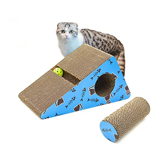 Living Express Cat Scratching Post/Pad/Cardboard with Catnip, Sturdy Recycled Materials Scratcher,...