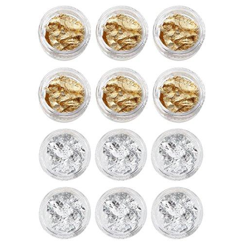 Gaetooely 12 Stueck Gold Silber Folie Paillette Nagel Kunst Spitze Franzoesisch UV Gel