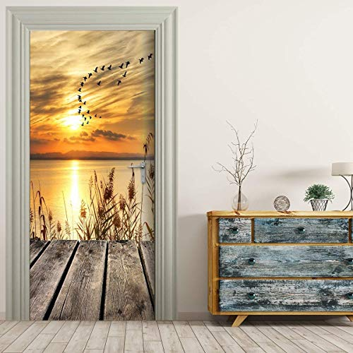 Door Sticker Zelfklevende Deur 3D-Beeld Sunset Sunrise Landschap Muurschildering Deur Filmposters Wallpaper Pvc Waterproof Verwisselbare Muurschilderingen Voor Slaapkamer Woonkamer,Beige