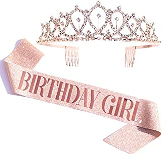 Rose Gold Birthday Girl Sash & Rhinestone Tiara Kit Rose Gold Birthday Gifts Glitter Birthday Sash Birthday Party Favors (...