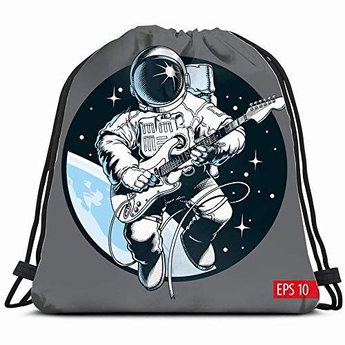 surce astronaut spelen elektrische gitaar ruimte diverse mensen trekkoord rugzak sport gymtas voor vrouwen mannen kinderen groot formaat met rits en waterfles mesh zakken 14x17 inch