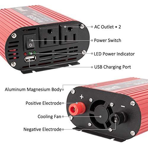 imoli 600W Inverter DC 12V to AC 110V 1200W(Peak) Car Power Converter Automotive Modified Sine Wave 2.1A Dual USB Ports 2 AC Outlets