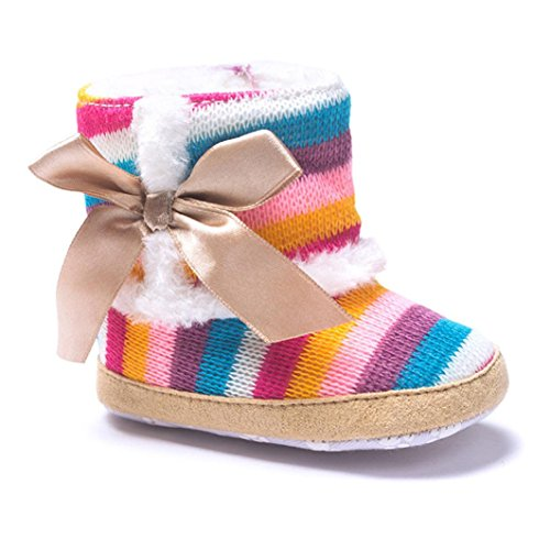 LNGRY Baby Girl Rainbow Soft Sole Snow Boots Soft Crib Shoes Toddler Boots (12-18 Months, Multicolor)