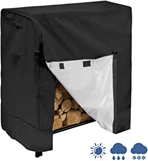IC ICLOVER Log Rack Cover, Heavy Duty Waterproof 4 Feet Firewood Rack Snow Protector with Durable Fabric Fits for 4 Seasons, L48xW26xH43 Inches