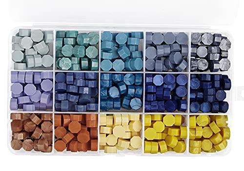 Perlas de Cera de Sellado, Speyang Cuentas de Cera Sellado, Granos de Cera para Sellar, Juego Sellos Cera, Kit de Lacre, Cera para Sellar Cartas de 15 Colores, Octagonal (Azul Amarillo)