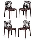 Supreme Web armless Plastic Chair,(globus Brown, 4 pcs)