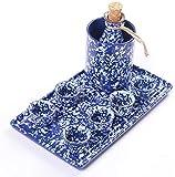 Juego de Sake de 10 Piezas, Juego de Sake de cerámica Azul Copo de Nieve glaseado con Olla Caliente y Estufa de Vela, para frío/Caliente/Shochu/té, increíble Color, el Mejor Juego de s