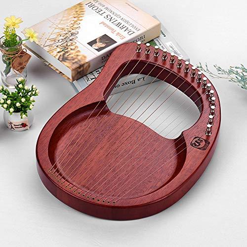Fesjoy kleine Harfe 16-Saiter Holz Lyra Harfe Metallsaiten Mahagoni Massivholz Saiteninstrument mit Tragetasche Stimmschlüssel Putztuch Saiten WH16