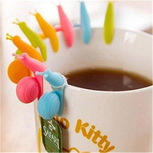 Naisidier Mini-Teebeutelhalter aus Silikon, Schnecken, zum Aufhängen an der Tasse, 5 Stück