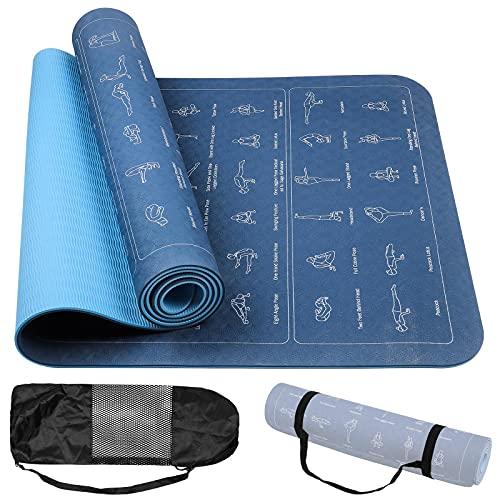 Eeneme Esterilla de yoga y gimnasia con correa de transporte, bolsa e ilustraciones, agradable al tacto, 180 x 60 cm, grosor de 6 mm