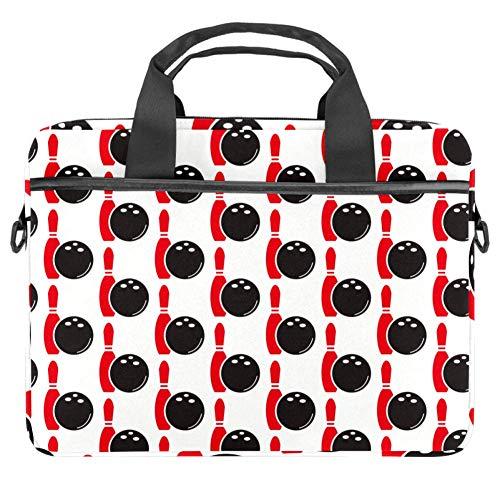 Laptop-Hülle mit Bowling-Motiv, Leinenmuster, Aktentasche, Laptop, Schultertasche, Messenger-Tasche für Apple MacBook, Laptop, Aktentasche