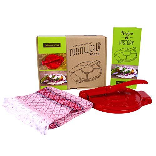 "Verve Culture Artisan Tortilleria Kit - 8"" Cast Iron Tortilla Press"
