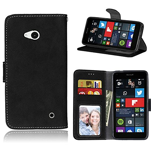 pinlu Hohe Qualität Retro Scrub PU Leder Etui Schutzhülle Für Microsoft Lumia 640 Dual-SIM Lederhülle Flip Cover Brieftasche Mit Stand Function Innenschlitzen Design Schwarz