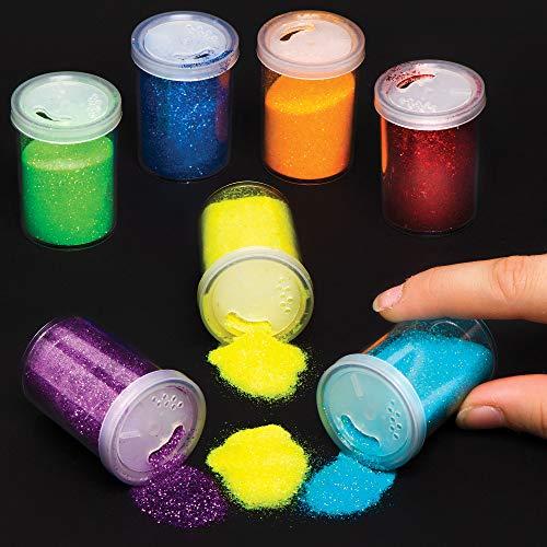 Baker Ross Regenbogenfarben Glitter Shaker, ideal für Sandkunst, Peel and Stick Crafts und Kunstprojekte für Kinder (Packung mit 7 x 15 g), sortiert