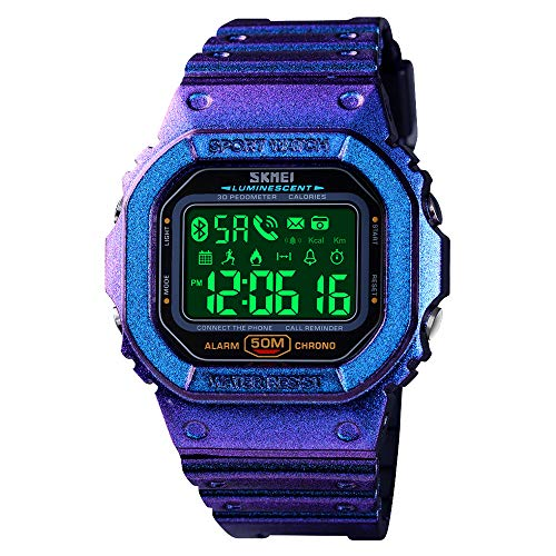 SKMEI Digital Watch for Men, Waterproof Military Wrist Watches with Pedometer Calorie Chronograph Call SMS Reminder LED Backlight Running Sport Watches for Men (Purple)