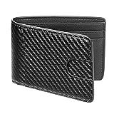 Casmonal Bifold Leather Wallet Men's Slim Front Pocket Billfold (Woven Black)