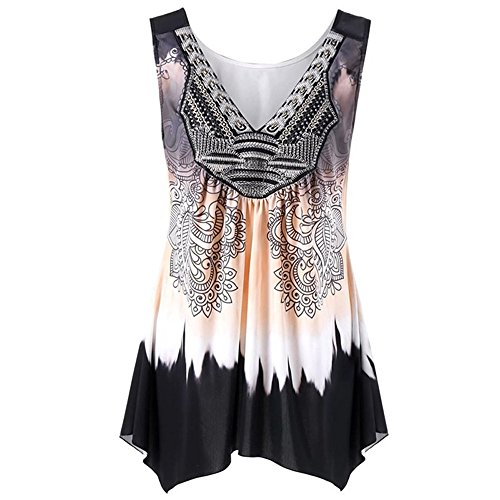 YKARITIANNA Woman Women V Neck Summer Tank Top Sleeveless Casual Loose Printed Vest Plus Size