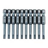 Set di 10 punte da 50 mm per cacciavite a testa piatta magnetica con codolo esagonale da 1...