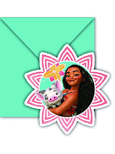6 cartes d'invitation + enveloppes Vaiana - taille - Taille Unique - 239487