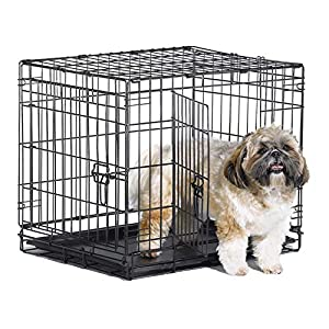 New World 24″ Double Door Folding Metal Dog Crate, Includes Leak-Proof Plastic Tray; Dog Crate Measures 24L x 18W x 19H Inches, For Small Dog Breed