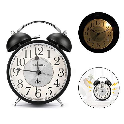 E-More Reloj Despertador de Doble Campana con luz Nocturna, Gran Esfera de 4 Pulgadas, batería de Reloj Despertador Ruidoso, sin tictac, silencioso, Timbre de Alarma Retro, Unidad de Cuarzo