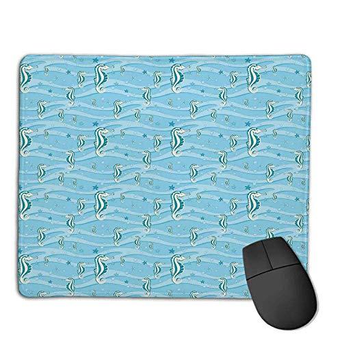 Tapis de Souris Animal Decor, Dessin animé comme des hippocampes pour Chambre d'enfant bébé Filles garçons Salle de Jeux enfantine Nautilus, Bleu