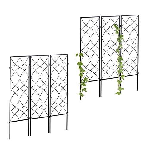 Relaxdays 6 x Rankgitter Metall, zum Stecken, Rankhilfe für Kletterpflanzen, 122 x 31 cm, Spalier Garten, Kletterhilfe, schwarz