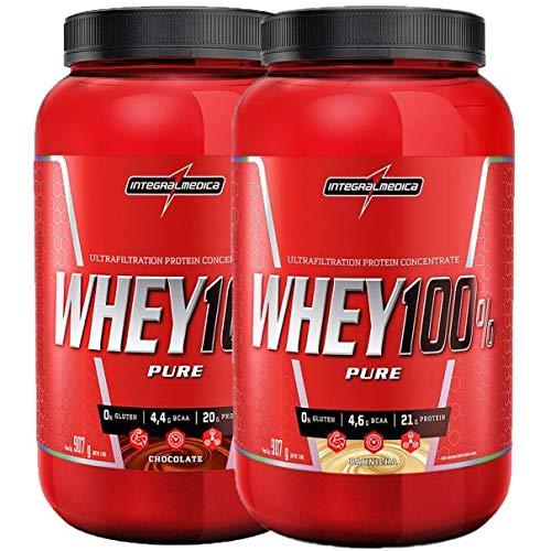 kit 2x Whey 100% Pure 907g Chocolate E Baunilha Integralmedica