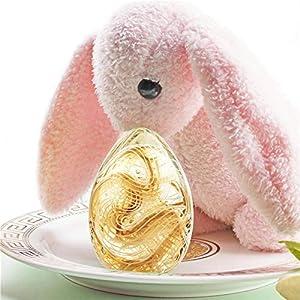 CWWU Escultura H&D Figuras Decorativas De Huevos De Pascua Sopladas A Mano, Adornos De Huevos De Cristal De Murano En Miniatura, Decoración De Pascua para El Hogar, Escritorio, Regalo para Niños
