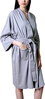 Women's Bathrobe Spa Robe, 100% Organic Cotton, Lightweight Super Soft Travel & Eco-Friendly (6 Colors)