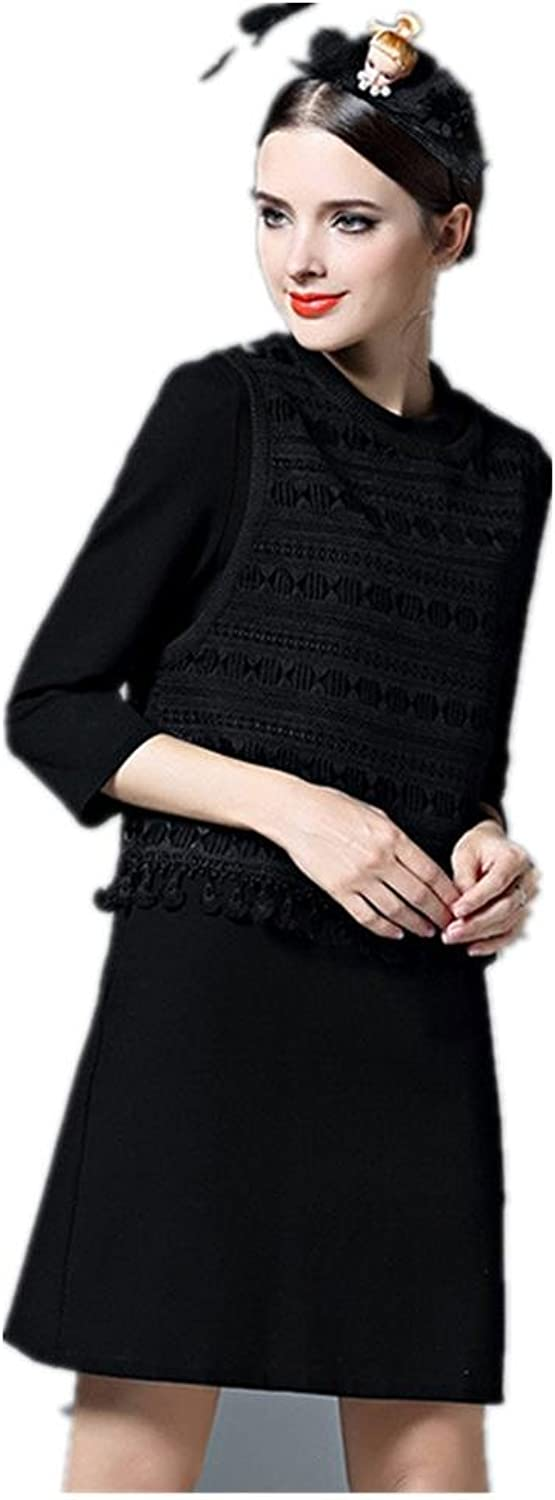 Fashion Spring and Autumn New Onepiece Dress , black , xl