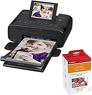 Canon SELPHY CP1300 Compact Photo Printer (Black) with RP-108 Ink/Paper Set Bundle