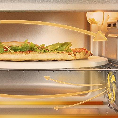 Cecotec Horno sobremesa con piedra para pizza.Horno eléctrico multifunción de sobremesa.Ideal para pizzas.Cocina por convección.Luz interior,puerta con doble cristal.1500 W.Bake&Toast 610 4Pizza