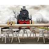 3D Murales Papel Pintado Pared Calcomanías Decoraciones Tren De Época Ferrocarril Bar Café Sala De Estar Telón De Fondo Behang Art º Chicas Tv (W)250X(H)175Cm