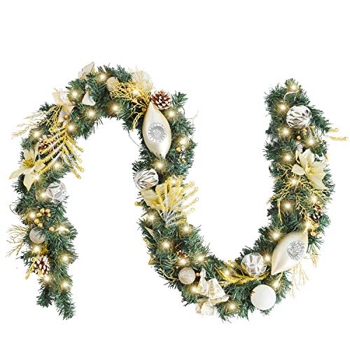 WANNA-CUL Pre-Lit 6 Feet/72 Inch Christmas Garland for Front Door with Lights Champagne Gold Christmas Mantel Garland Decoration with Ball Ornaments, Poinsettia Flowers,Ribbon,Battery Operated 30 LED